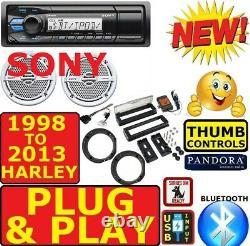 FITS 98-13 HARLEY PLUG & N PLAY MARINE BLUETOOTH RADIO STEREO With SPEAKERSOPT XM